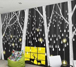 CJSIR personalizada pared grande pintor con la nórdica minimalista Noche Millones de gotas de luz de fondo Bosque Ciervo del papel pintado de la decoración Nmj5 #