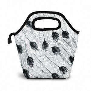 Эму перо обед мешок обед / Ледовые сумки Портативный Изолированный Пикник Box Для женщин Для мужчин V6iP #