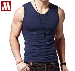 MYDBSH 2020 verano de algodón cuello redondo sólido camisetas ocasionales sin mangas de camiseta de los hombres de fitness Bodybuilder Camiseta Hombre del músculo camiseta MX200611
