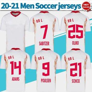 2021 بالقميص لكرة القدم RBL البيت الأبيض # 14 ADAMS # 25 OLMO 20/21 الرجال قمصان كرة القدم رقم 21 SCHICK # 9 POULSEN مخصصة زي كرة القدم