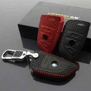مفتاح سيارة حقيبة الأعلى مفتاح طبقة جلدية حالة 3 زر 2015-2020 لBMW X1 سلسلة X5 X6 35I مفتاح السيارة استرجاع غطاء مصنوع من الجلد صاحب السيارة