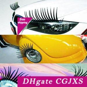 Car stying 3d Charme Noir Faux Cils Faux Cils autocollant de voiture Phare Décoration drôle Decal Stickers personnalisés pour Beetle
