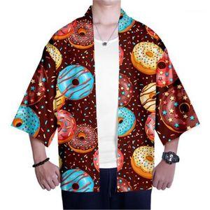 Candy Printing Long Sleeve Clothing Designer Male Kimono Top Cardigan Thin Loose Casual Shirts Man Sweets Shirt Fashion 3D Digital