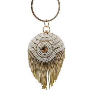 Designer-Johnature Bankett Abendtaschen Rund Totes Frauen-Beutel-Perlen mit Diamant-Quaste Luxus-Handtaschen Fashion Party Damentaschen