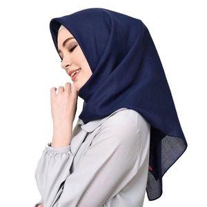 110 * 110cm Frauen Schalquadrats Baumwolle moslemische hijab Schal femme musulman weich Kopftuch islamischer Schal und Verpackungsschal