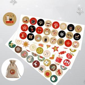 Los sobres de papel de decoración 24pcs Feliz Navidad pegatinas del sello de Santa ciervos adhesiva de embalaje Etiqueta Labels Gifts Sobre del partido de Navidad