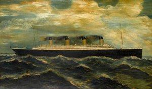 Seascape grande navio Titanic com ondas do mar decoração da parede pintado à mão HD Imprimir pintura a óleo em pinturas de arte da parede da lona de lona 200827