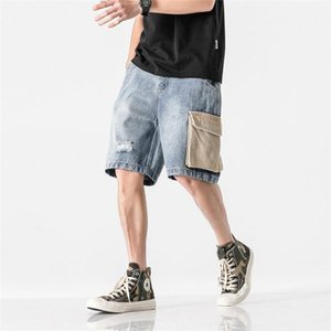Loose With Pocket Beach Short Pants Male Knee Length Mens Splice Denim Shorts Summer