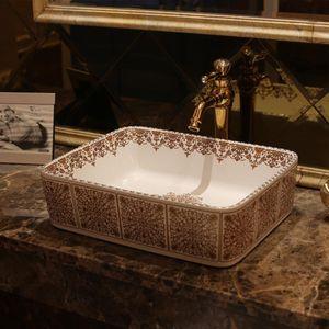 Rectangular Blue and white Jingdezhen ceramic sink wash basin Ceramic Counter Top Wash Basin Bathroom Sinks laboratory sink
