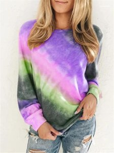 Manches ras du cou Hauts Printemps Casual femmes T-shirts Plus Size femmes Designer T-shirts Fashion Tie Dyed longue