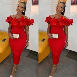 Sexy fuori dalla spalla rossa del vestito da cocktail 2020 Plus Size 3D Fiori di lunghezza del tè partito di promenade arabo africano abiti