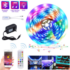 5 M LED Luces de tiras RGB Strips Tape Light 150 Leds Impermeable Music Sync Color Cambiando Bluetooth 24 teclas Control remoto Decoración para Party Party