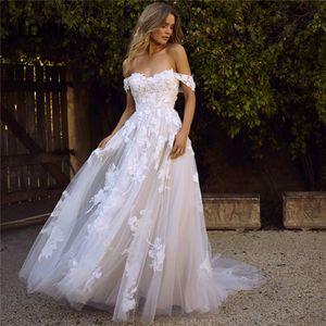 LORIE Lace Wedding Dresses 2020 Off the Shoulder Appliques A Line Bride Dress Princess Wedding Gown Free Shipping robe de mariee