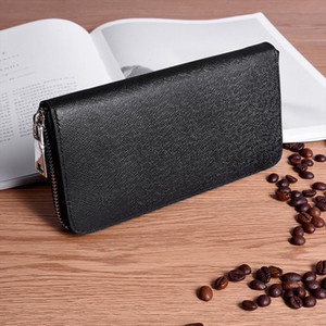 Wallet Men Long Zipper Genuine Leather Wallets Solid Color Male Business Clutch Cellphone Wallet Big Capacity Card Holder Purse