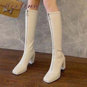 Meotina натуральная кожа Высокий каблук Длинные сапоги по колено сапоги женщин обувь Квадратный носок Толстые каблуки Zip Ladies абрикос Осень