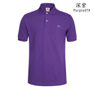 Lacoste Мода марка дизайнера поло мужчин вскользь тенниска вышитая Medusa хлопка поло рубашки Высокий воротник улица люкс Поло рубашки