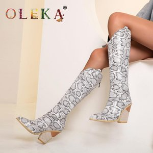 OLEKA Knee-high Winter Boots Women Super High Totem Pointed Toe Sexy Boots Novelty Style Basic New AS490