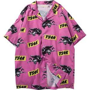 Mens nueva llegada Beach antiguas de Hawai Camisas de verano de manga corta de impresión sueltas Vacaciones camisas de la solapa de la camisa floja de Dropshiping Ins