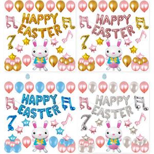 Easter Day Balloon Party Decorative Sets Cartoon Rabbit Bunny Shape Aluminum film Balloon Decor Kits 12inch 8 Styles DHL WX9-1229