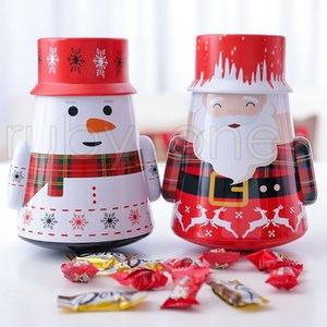 Christmas Iron Candy Box Gift Tin Box Kids Mailbox Case Christmas Santa Claus Snowman Printed Sealed Jar Packing Boxes Decorations RRA3471