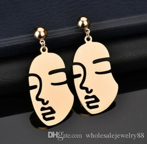 Atacado Face Humana Brincos Arte abstrata Brincos recorte face Dangle Gota Ear Studs Mulheres Party Girl Jewelry