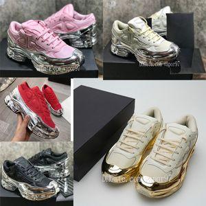 2 Sneaekers Raf Simons surdimensionné Sneaker Ozweego chaussures hommes femmes chaussures en argent Effet métallique Sole Sport rS Entraîneur s2 avec la boîte