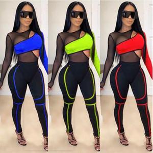 Mode Patchwork Set Sheer Mesh Bandage Jumpsuit 2 Piece évider manches longues Casual Romper Survêtement Bodys club