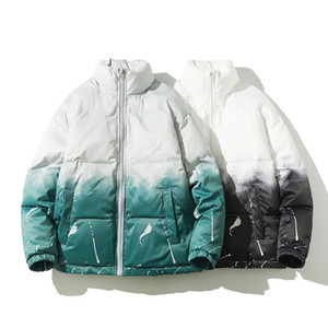 Homens de casaco preto verde engrossar zipper gradient inverno jaquetas aquecidas gola homens casuais de tamanho ocasional