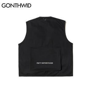 GONTHWID Полезность несколько Zipper Карманы безрукавка инструмент Жилеты Tactical Combat Vest Повседневное Путешествие Открытой куртки пальто CX200817