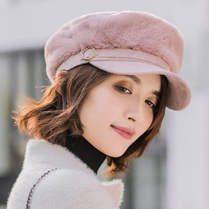 Урожай Осень Зима Deerskin кашемир Flat Top Navy Hats Женский британский стиль ретро дама Теплый берет простой мода Cap