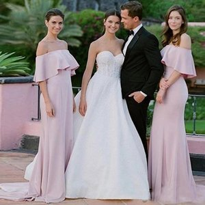 Pink Off The Shoulder Bridesmaid Dress Spring Summer Country Garden Wedding Party Guest Maid of Honor Gown Custom Made