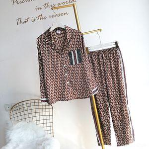 gowHJ 9cRy2 Paar seidenähnliche zweiteilige Satin conditioning Air Hülsenpyjamas Chiffon lange zu Hause Frauenanzug Sommerluft Eis Pyjama Seide Hause