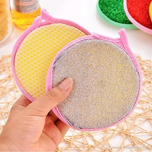 Wholesale Double Cleaner Washing Tools Soft Sponge Multi -Function Kitchen Sided Round Dish Cleaning Brushes Scourer Sponge Bh0700 Tqq