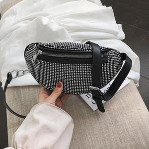 CCRXRQ Womens cintura Bolsas Diamonds Ladies pochete Moda Peito Bag Banana Rhinestone Bandoleira Sacos de ombro bolsa de cintura