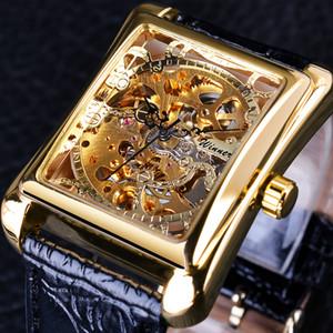 2020 Retro Casual Series Herren-business watch Rectangle Dial Design Goldene Muster hohle Skeleton Uhr-Spitzenmarken-Quadrat-Uhr