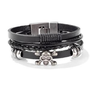 Designer bracelet skeleton mens bangle geniuine leather bracelet hip hop designer jewelry love punk bangle jewelry free shipping