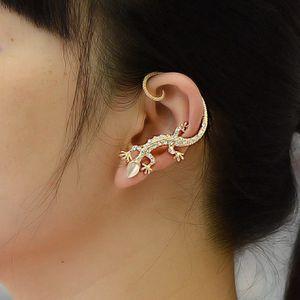 Мода Элегантный Очаровательная Кристалл Lizard Дизайн Ear Cuff серьги для женщин Золото Серебро Цвет Rhinestone животных Geckos серьги