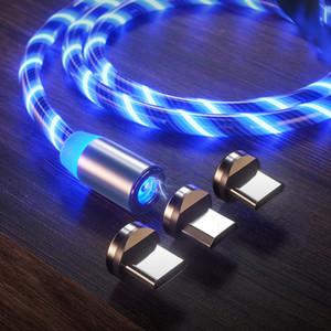 cable magnético 3 en 1 cargador rápido del LED Tipo de luz que fluye C Cable de carga rápida de la línea 2A Micro USB Cable Cargadores Cable