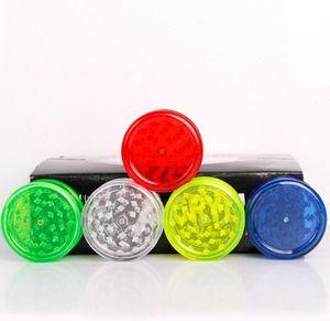Molinillos de humo de tabaco de 60 mm Grinder de plástico 3 LayerTransparent plástico Mills dientes encajan amoladoras coloridas para el humo Accesorios GGA3624
