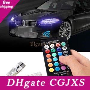 2шт / пара T10 5050 дистанционного управления автомобиля светодиодные лампы 6 Smd Multicolor W5W 501 Боковой свет лампы