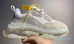 d2020 новой моды Тройной Кристалл Bottoms Мужские Женские Повседневная обувь Paris 17FW кроссовки Vintage папа Платформа Женщины Flats Тренеры 15л