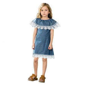 DHgate Fashion Toddler Baby Girls Sleeveless Lace Ruffles Denim Sundress Outfits Clothes Dress Clearance newst baby dress Z0208