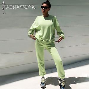 Genayooa Hoddies Eşofman Kadınlar Seti 2020 Sonbahar Kış Koreli İki Adet Set Üstü Ve Pantolon Büyük Boy Sweatershirt 2 Adet