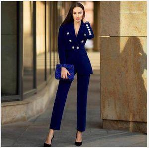 Luxus-Buttons Designer-Jacken Damen-Arbeitsreizvolle dünne Normallack-Anzug Kragen Langärmlig Jacken Mode Frauen Mäntel