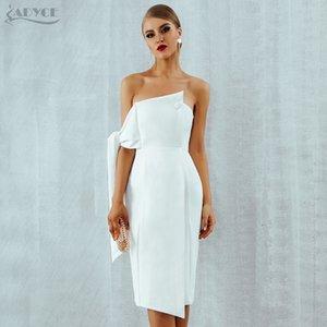Adyce partito della celebrità donne vestono 2019 di nuova estate di arrivo casuale spalla di bianco uno Pulsante elegante nappe Club Abiti Vestidos Q190402