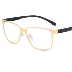 Marco grande de los hombres de los vidrios 2020 Classic Metal cuadrado de las lentes de PC Templos lente clara prescripción transparente gafas de sol del marco