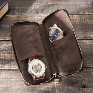 Duplo Criatividade Leather Watch Box de armazenamento de alta qualidade Lovers'Watch Proteja macio Bag Assista recolher as caixas Caixa