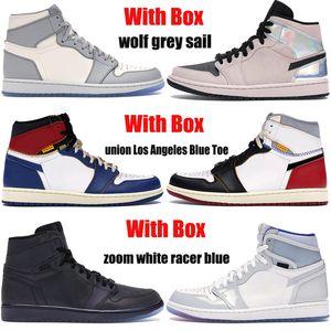 Box 1 altos 1s homens jumpman tênis de basquete lobo vela cinza zoom branca piloto azul sindicais Los Angeles Black Men Toe as sapatilhas das mulheres
