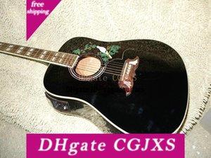 중국 공장의 새로운 사용자 지정 어쿠스틱 일렉트릭 기타 블랙 기타 무료 배송