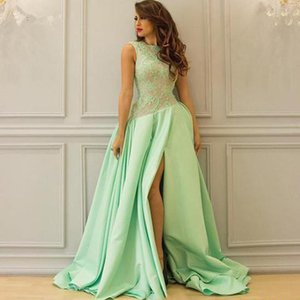 New Dubai Arabic Mint Evening Dress With Slits Elegant Long Prom Dresses 2020 Satin Lace Formal Women Wear Special Occasion Gowns